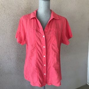 Tommy Bahama Linen Button Down Shirt Coral L
